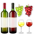 realistic bunches of grapes and bottles of wine vector image