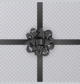 realistic gift ribbon black bow of on transparent vector image vector image