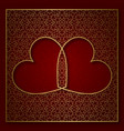 romantic patterned background with frame of two vector image vector image