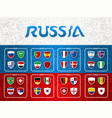 russia soccer event group list template design vector image vector image