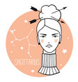 sagittarius girl sketch style woman with zodiac vector image