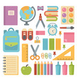 school items flat icon set back to school vector image vector image