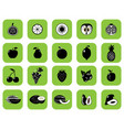set fruits and vegetables black vector image vector image