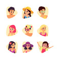 set of summer cartoon characters people avatars vector image