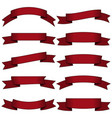 set of ten dark red ribbons and banners vector image