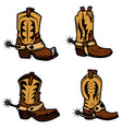 set of the cowboy boots design elements for logo vector image vector image