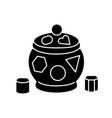shape sorter pot black glyph icon vector image
