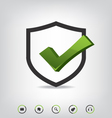 Shield check mark and web icons vector image vector image