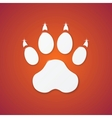 Shiny Plastic Trace of Dog on Orange Background vector image vector image