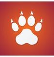 Shiny Plastic Trace of Dog on Orange Background vector image