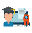 student graduated with computer and rocket vector image vector image