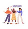 three hand drawn diverse woman waving hand vector image vector image