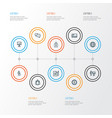 trade outline icons set collection of global vector image vector image