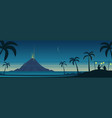 tropical island volcano eruption and celebration vector image