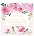 wedding card pink rose flower vector image vector image