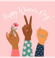 womens hand with her fist raised up girl power vector image vector image