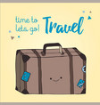 travel bag hand drawn style retro suitcase vector image