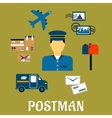 Flat postal icons around a Postman vector image
