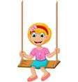 funny Little girl plying swing vector image