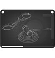 3d model of handcuffs and judges gavel on a black vector image vector image