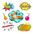 a set of cute speech bubbles with christmas vector image