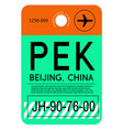 beijing airport luggage tag vector image vector image