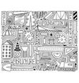black-and-white doodle set with construction vector image