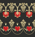 borders with beautiful ornamental red hearts vector image