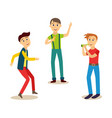 boys men friends having fun at birthday party vector image vector image