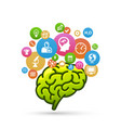 brain with lots of icons vector image