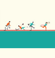 business people running and jumping hurdles on vector image