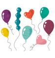 collection doodle balloons with hand vector image