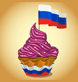 cupcake with russian flag vector image vector image