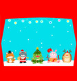 cute animal christmas character background vector image vector image