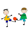 doodle boys playing with a ball vector image vector image