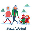 family winter holidays parents with kids sledding vector image vector image