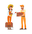 farmers cartoon characters vector image vector image