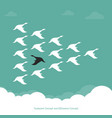 flock a duck flying in sky teamwork vector image vector image
