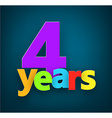 Four years paper sign vector image vector image
