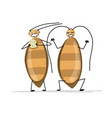 funny cockroaches for your design vector image