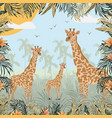 giraffe in jungle wild vector image
