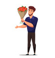 happy man holding flower bouquet flat character vector image vector image