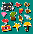 hipster patches elements like lips ok sign and vector image vector image