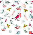 holiday pattern with cute robin birds vector image
