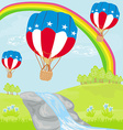 Hot Air Balloons of 4 of July in Flight vector image vector image