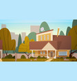 house building suburb of big city in summer vector image