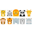 jungle animals icons animals safari vector image