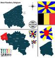 map of west flanders belgium vector image vector image