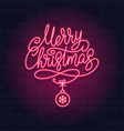 merry christmas neon light sign on a brick wall vector image vector image