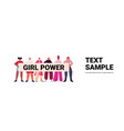 mix race girls activists holding poster female vector image vector image